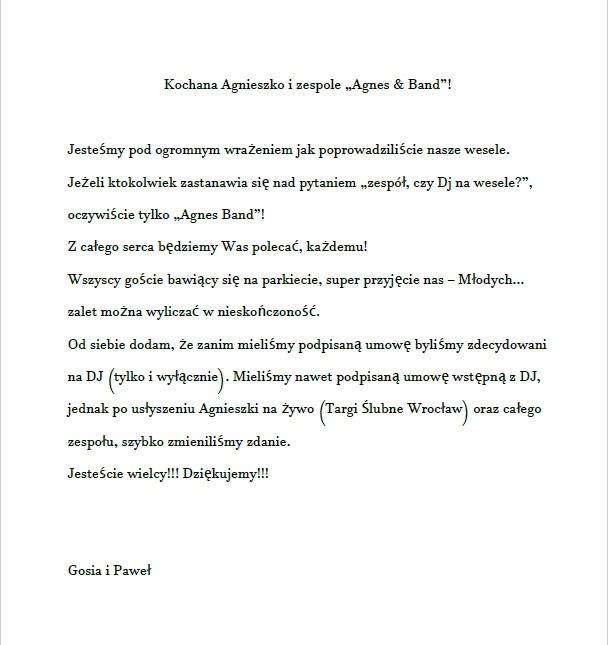 referencje Gosia Pawel